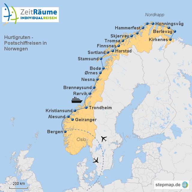 Karte Norwegen Hurtigruten.Stepmap Hurtigruten Landkarte Für Norwegen