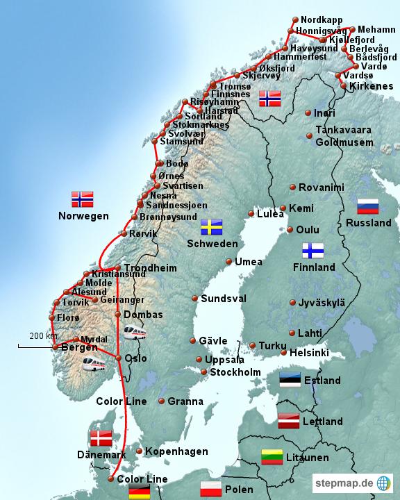 Karte Norwegen Hurtigruten.Stepmap Hurtigruten Bergen Kirkenes Trondheim Landkarte Für Norwegen