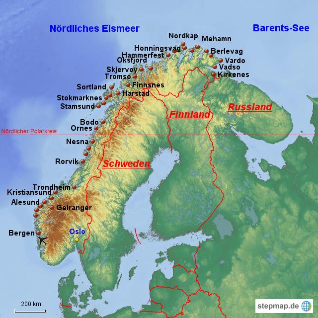 Karte Norwegen Hurtigruten.Stepmap Hurtigruten Häfen Landkarte Für Norwegen