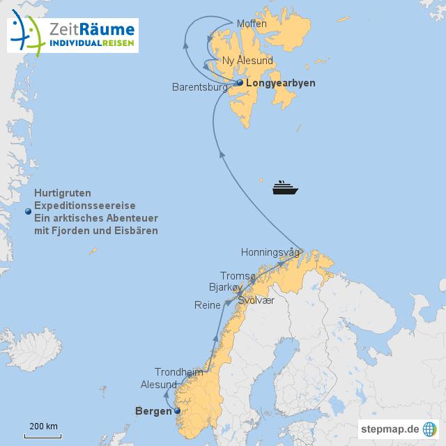Karte Norwegen Hurtigruten.Stepmap Hurtigruten Norwegen Und Spitzbergen Mit Logo Landkarte
