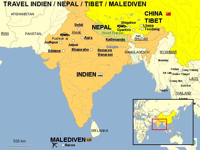 malediven landkarte StepMap   INDIEN/NEPAL/TIBET/MALEDIVEN   Landkarte für Asien malediven landkarte