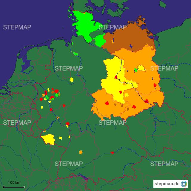 StepMap - IQ-Verteilung Deutschland - Landkarte für Deutschland