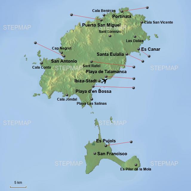 Ibiza Karte Playa D En Bossa.Stepmap Ibiza Landkarte Für Deutschland