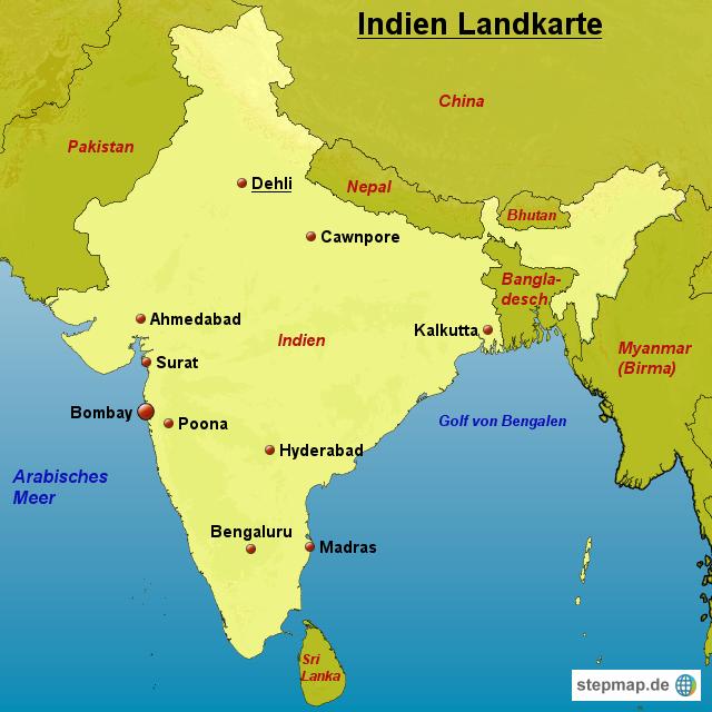 indien landkarte StepMap   Indien Landkarte   Landkarte für Indien indien landkarte
