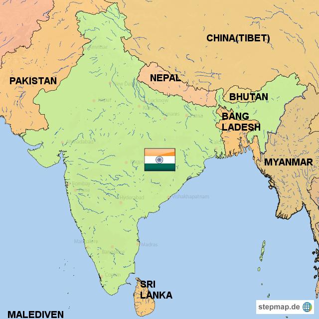 stepmap indiens nachbarl nder landkarte f r indien. Black Bedroom Furniture Sets. Home Design Ideas