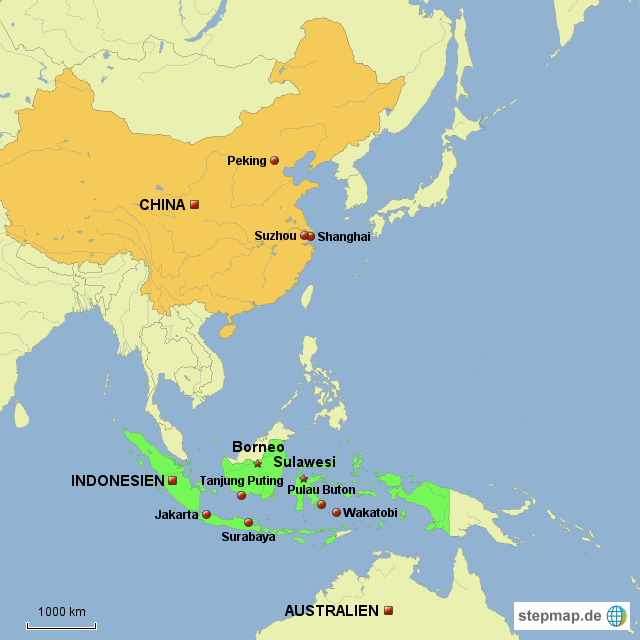 Indonesien Karte Physisch.Stepmap Indonesien China 2012 Landkarte Fur Asien