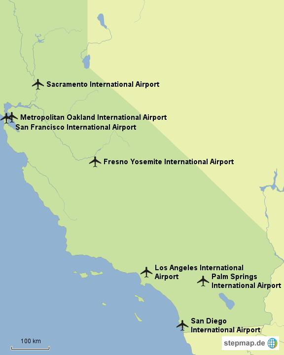 StepMap - International Operating Airports CA - Landkarte für USA
