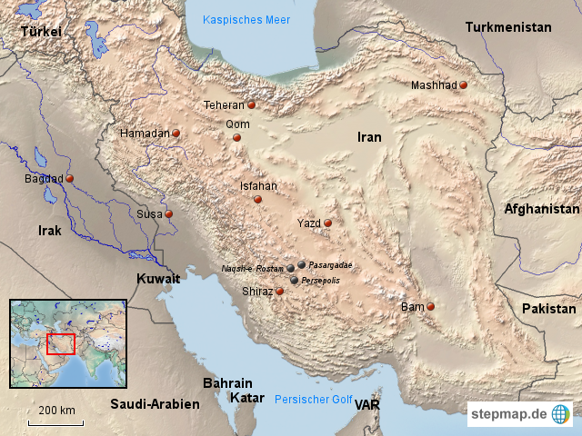 Karte Iran Nachbarlander.Stepmap Iran Landkarte Fur Asien
