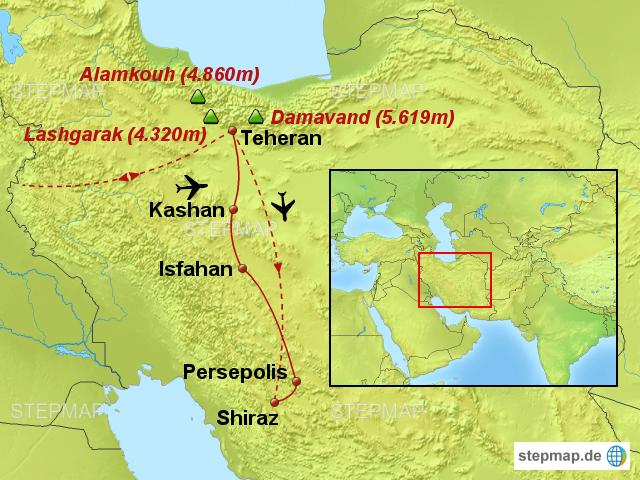 Persien Karte.Stepmap Iran Damavand 5 619m Gipfeltour Gepaart Mit Kultur Im