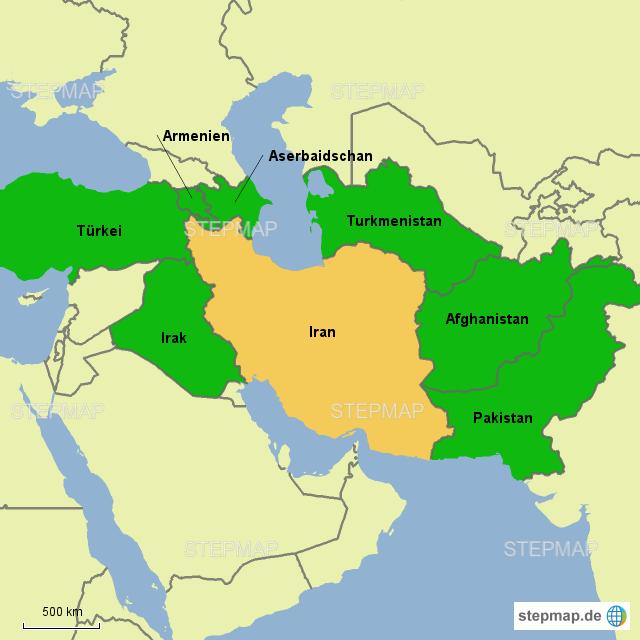 Karte Iran Nachbarlander.Stepmap Iran Und Nachbarstaaten Landkarte Fur Asien