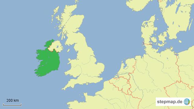 Irland Karte Europa.Stepmap Irland Lage In Europa Landkarte Für Deutschland