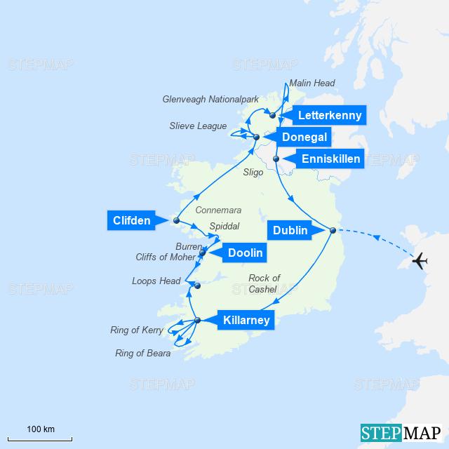 Irland Karte Rundreise.Stepmap Irland Mietwagen Rundreise Wild Wild West