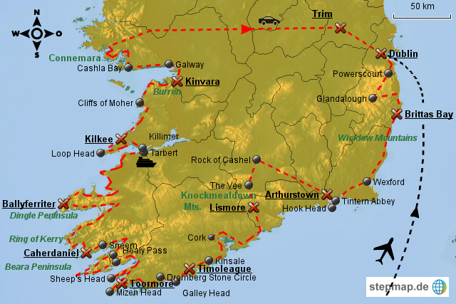 Irland Karte Rundreise.Stepmap Irland Rundreise Landkarte Fur Irland