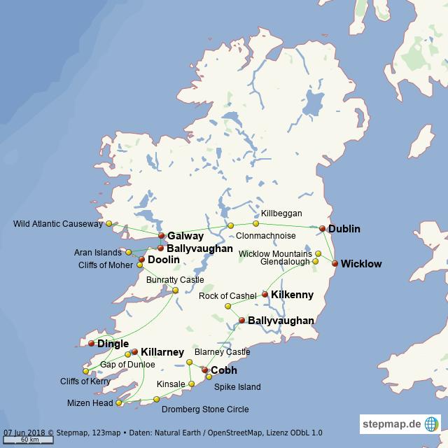 Irland Karte Rundreise.Stepmap Irland Rundreise Landkarte Fur Welt