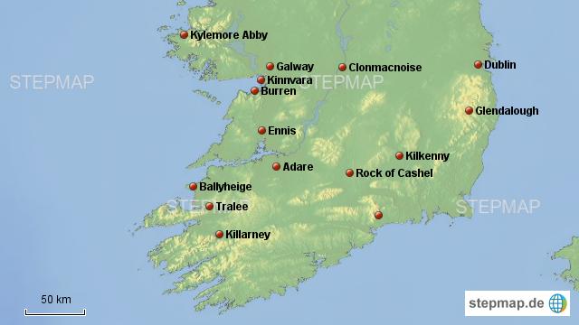 karte irland süden StepMap   Irland Rundreise Süden   Landkarte für Irland
