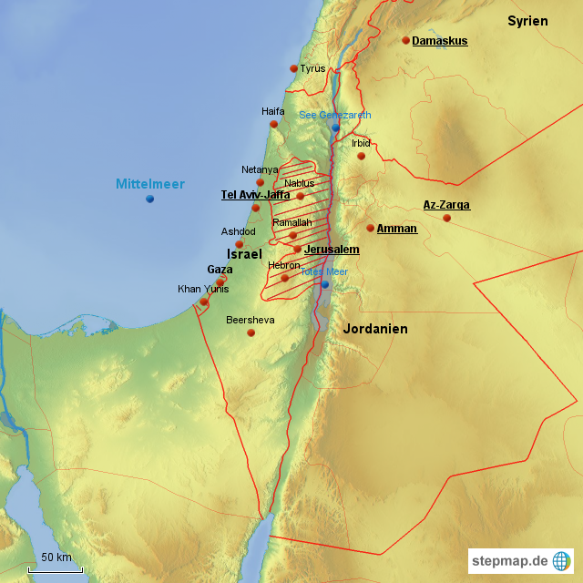 Israel Karte.Stepmap Israel Karte Landkarte Für Israel