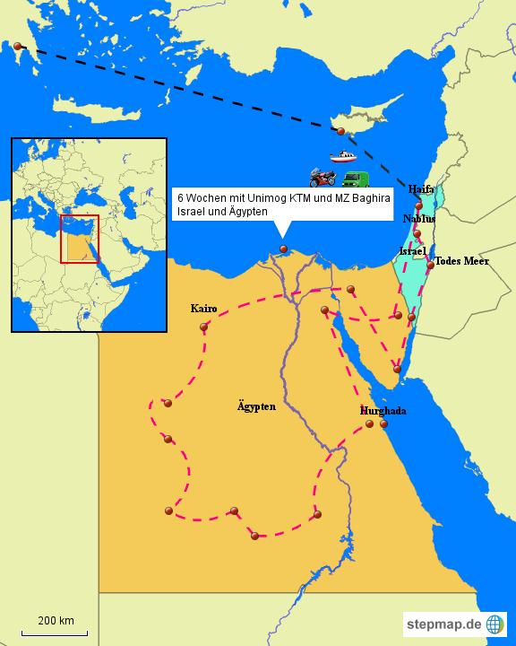 StepMap - Israel Ägypten - Landkarte für Deutschland