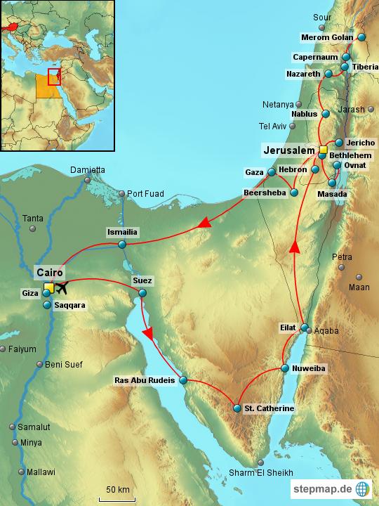 StepMap - Israel & Ägypten - Landkarte für Israel