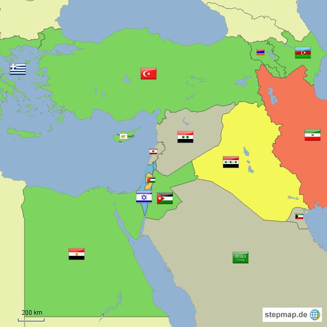Karte Naher Osten Israel.Stepmap Israels Geopolitische Situation Im Nahen Osten