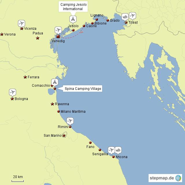 adria italien karte StepMap   Italien Adria   Landkarte für Italien adria italien karte