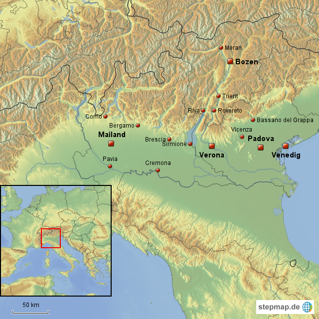 italien landkarte verona StepMap   Italien; Bozen, Mailand, Venedig, Padova, Verona und