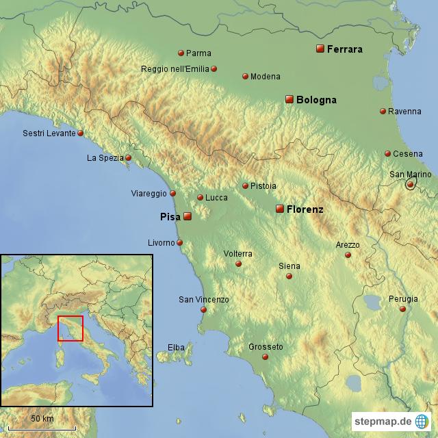 italien pisa karte StepMap   Italien; Ferrara, Bologna, Florenz, Pisa   Landkarte für