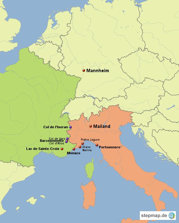 Karte Italien Frankreich.Stepmap Italien Frankreich 2012 Landkarte Für Deutschland