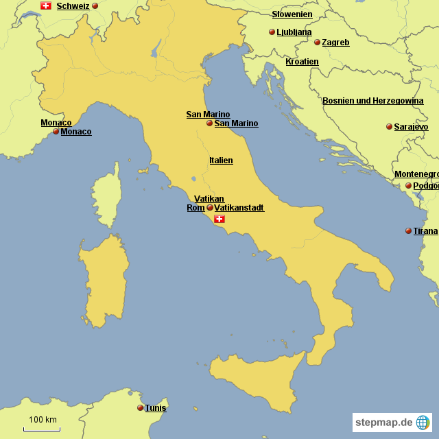 Monaco Italien Karte.Stepmap Italien Karte Landkarte Fur Italien