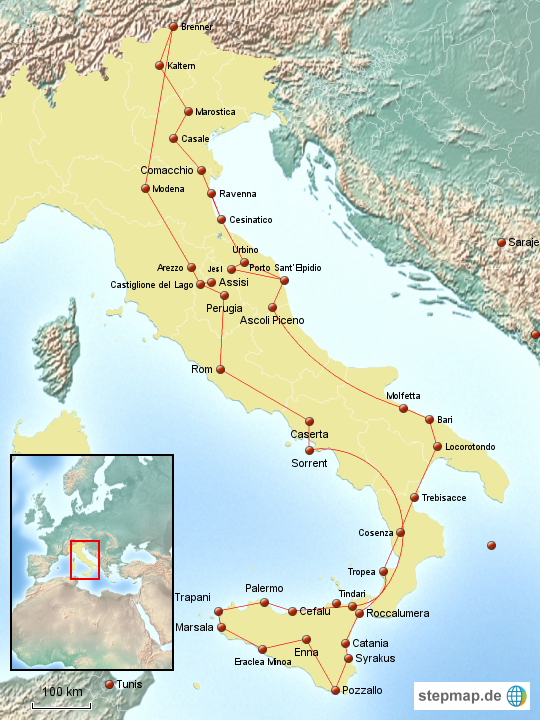 italien rundreise 2016 von herbertix landkarte f r deutschland. Black Bedroom Furniture Sets. Home Design Ideas