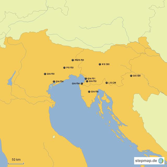 stepmap italien slowenien kroatien landkarte f r. Black Bedroom Furniture Sets. Home Design Ideas