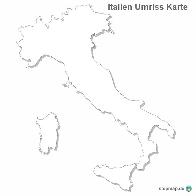 umriss italien karte StepMap   Italien Umriss Karte   Landkarte für Italien