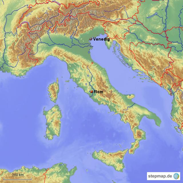 Venedig Karte.Stepmap Italien Mit Rom Und Venedig Landkarte Fur Italien