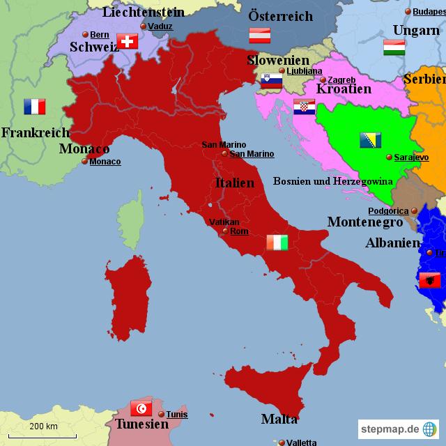 Monaco Italien Karte.Stepmap Italienkarte Landkarte Fur Italien