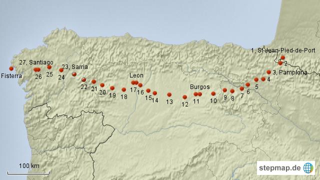 Jakobsweg Spanien Karte.Stepmap Jakobsweg 2007 Landkarte Für Spanien
