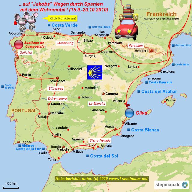 Spanien Karte Küsten.Stepmap Jakobsweg Spanien 2010 Landkarte Für Spanien