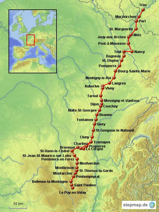 Jakobsweg Karte Frankreich.Stepmap Jakobsweg Trier Le Puy En Velay Landkarte Fur