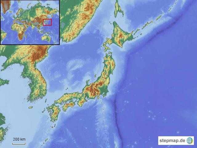 Japan Karte Physisch.Stepmap Japan Physisch Landkarte Fur Asien