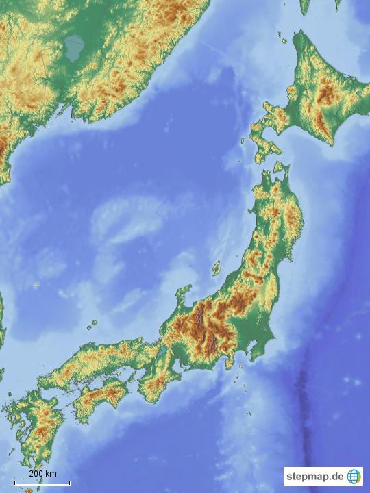 Japan Karte Physisch.Stepmap Japan Physisch Neu Landkarte Fur Asien