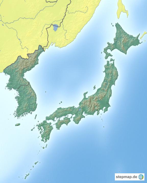 Japan Karte Physisch.Stepmap Japan Und Korea Landkarte Fur Japan