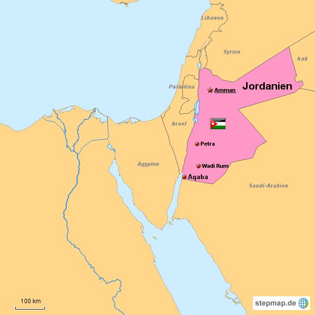 Jordanien Karte.Stepmap Jordanien Landkarte Für Jordanien
