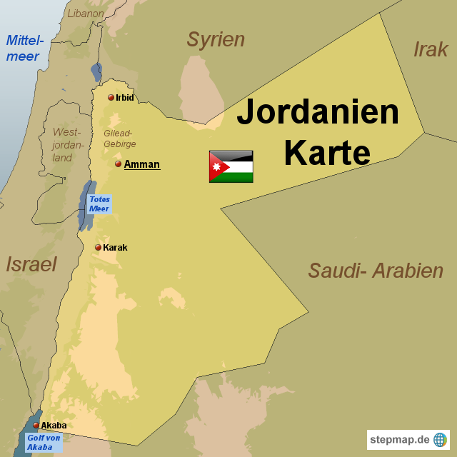 Jordanien Karte.Stepmap Jordanien Karte Landkarte Für Jordanien