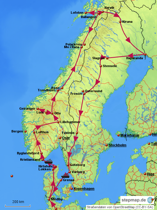Karte Norwegen Mit Polarkreis.Stepmap Juni 2013 Route Skandinavien Landkarte Für Norwegen