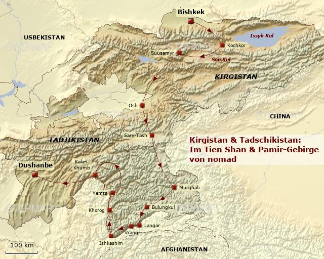 StepMap - KIR552 Kirgistan & Tadschikistan: Im Tien Shan und Pamir ...