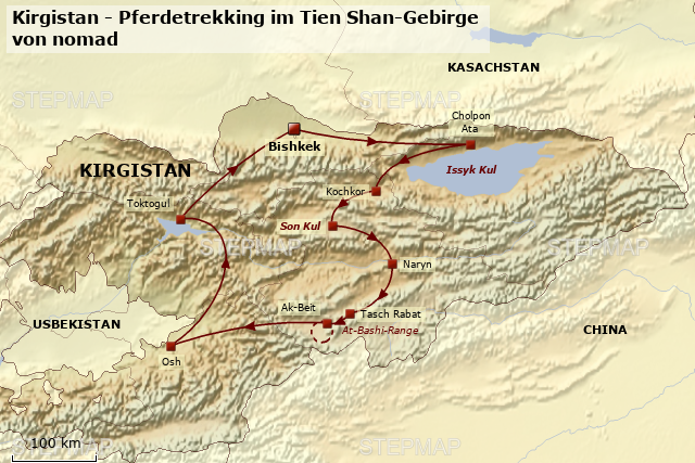 StepMap - KIR555 Kirgistan - Pferdetrekking im Tien Shan-Gebirge ...