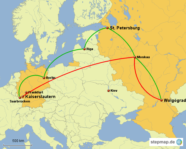 wolgograd karte StepMap   Kaiserslautern _ Wolgograd _Linien   Landkarte für Europa wolgograd karte