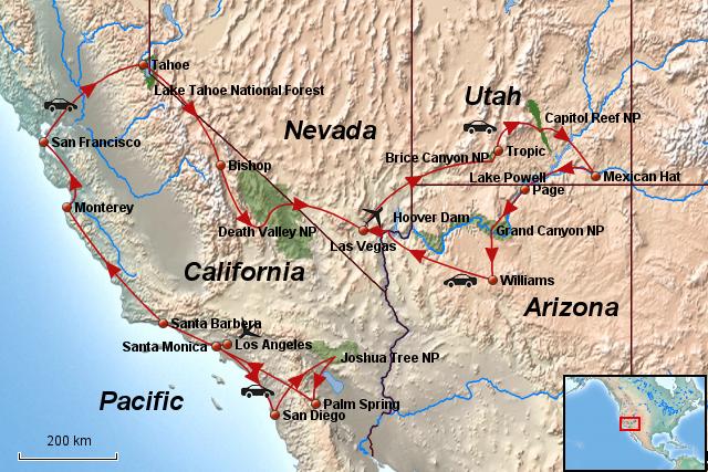 StepMap - Kalifornien Nevada Utah Arizona - Landkarte für Nordamerika