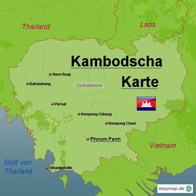 Kambodscha Karte.Stepmap Kambodscha Karte Landkarte Fur Kambodscha