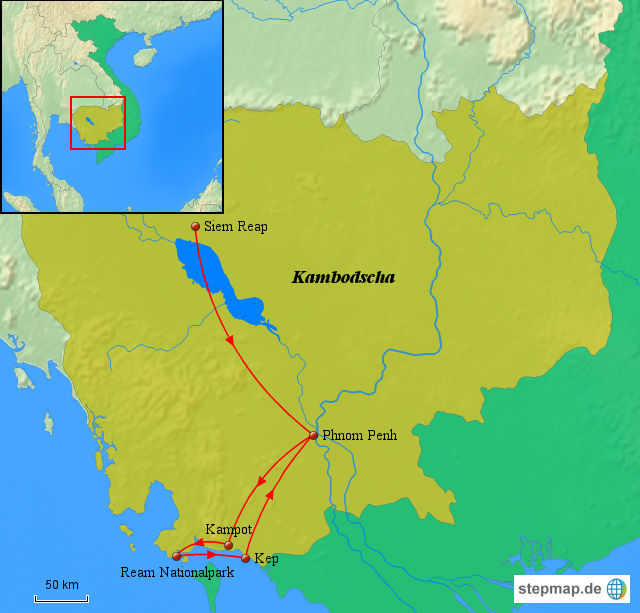 Kambodscha Karte.Stepmap Kambodscha Karte Kambodscha Von Angkor Bis An