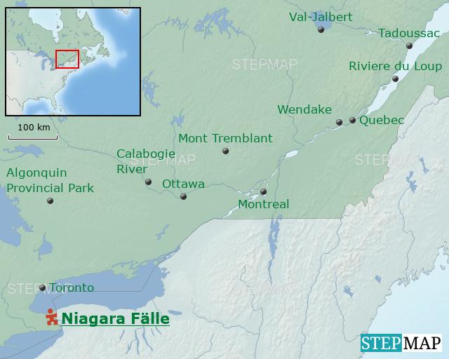 Stepmap Kanada Familienreisen Niagara Fälle Landkarte Für Kanada