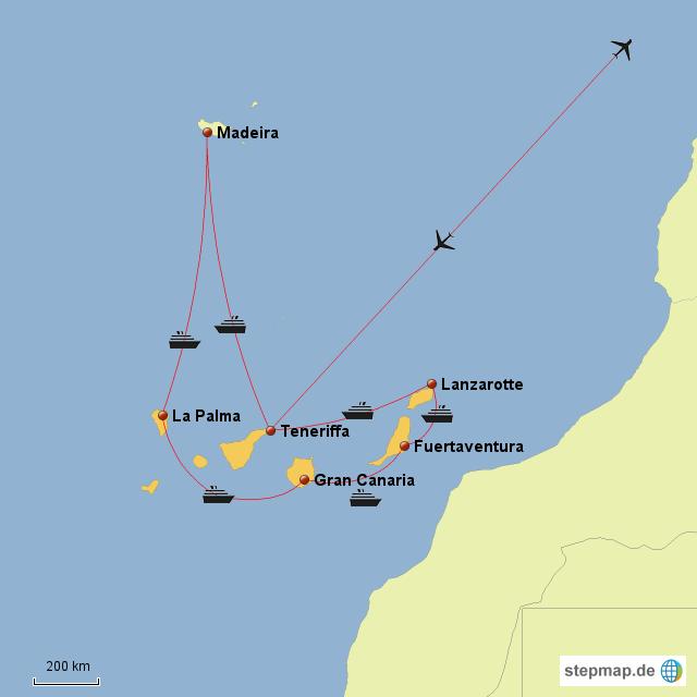 karte kanaren StepMap   Kanaren Karte   Landkarte für Spanien karte kanaren